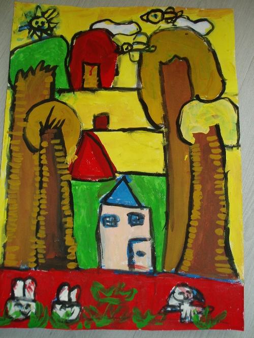 幼儿绘画秋天的景色展示