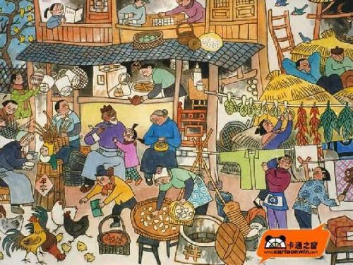 春节包饺子卡通图片