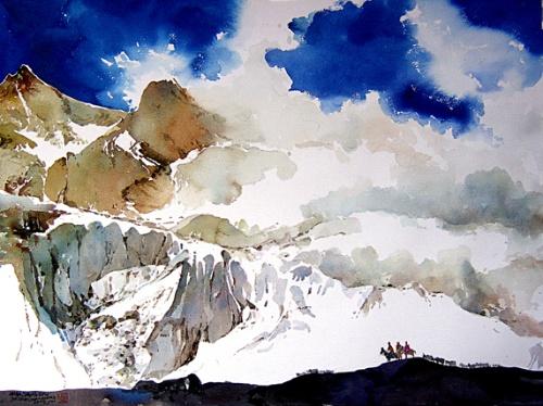 初中画画风景雪