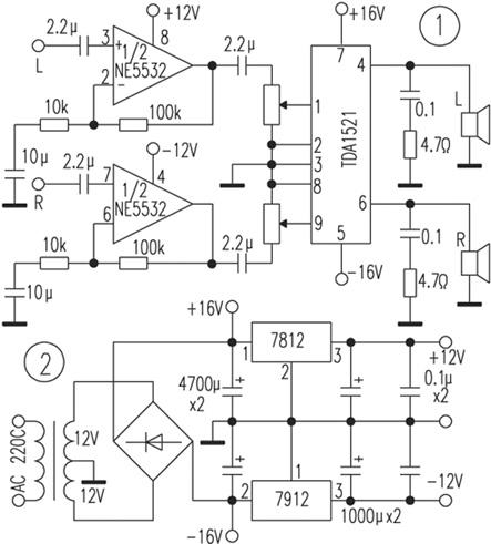 功放部分电路见图1,电源部分电路见图2