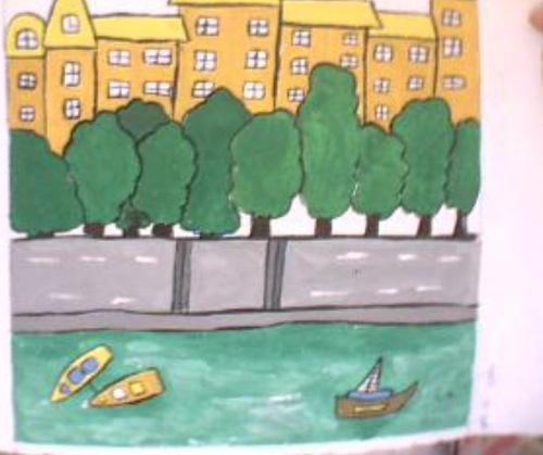 家乡的景色简笔画; 我的房间简笔画;