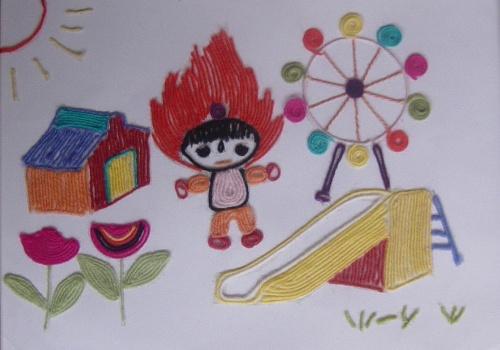 幼儿园举行亲子毛线画大比拼活动